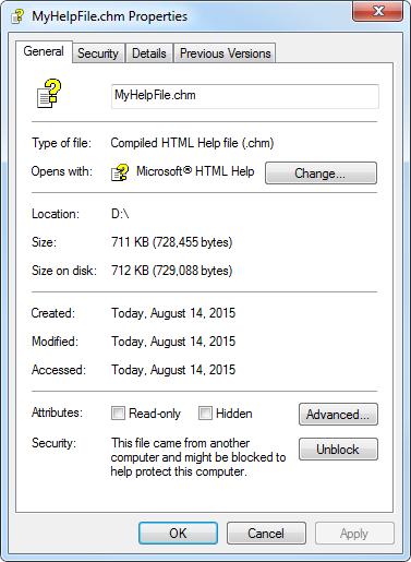 Blocked CHM Help File