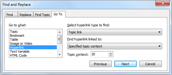 Finding a Hyperlink Linking to a Specific Topic
