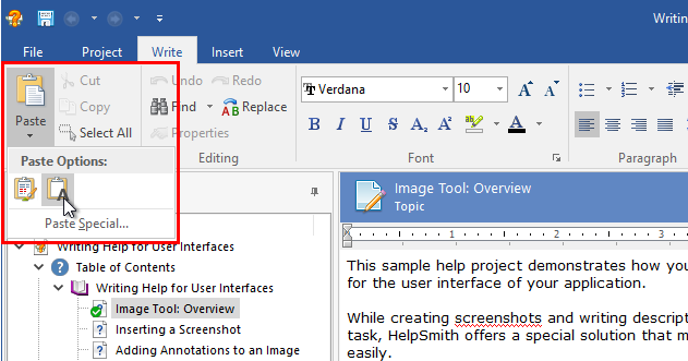 Pasting Text in the Selected Clipboard Format