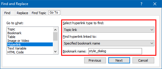 Finding Hyperlinks that Link to a Bookmark