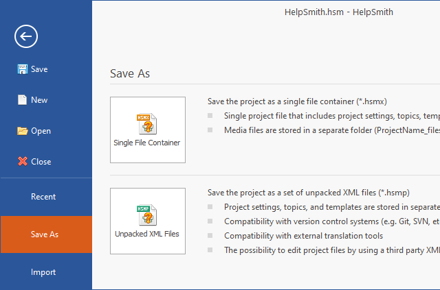 New XML-based Project Formats in HelpSmith 9.x