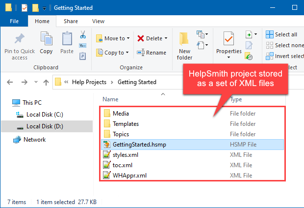 Help Project Stored as a Set of Separate XML Files