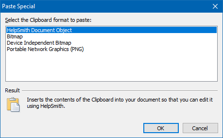 Pasting an Image in the Selected Clipboard Format