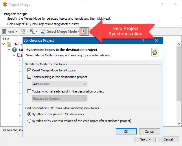 Synchronizing a Translated Help Project