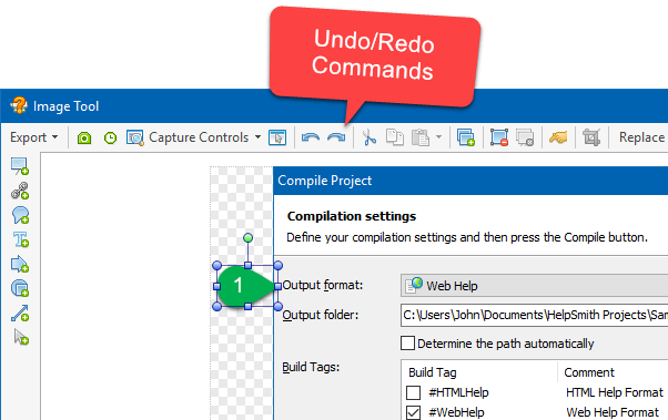 Undo/Redo Commands in the Image Tool