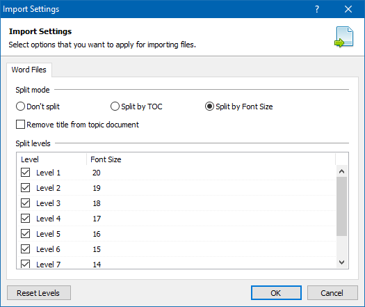 Word Document Split Settings
