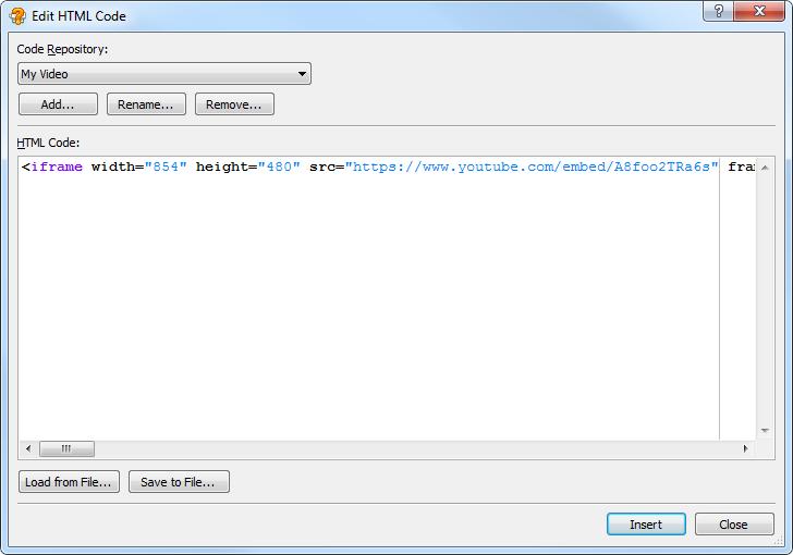 Inserting Custom HTML Code