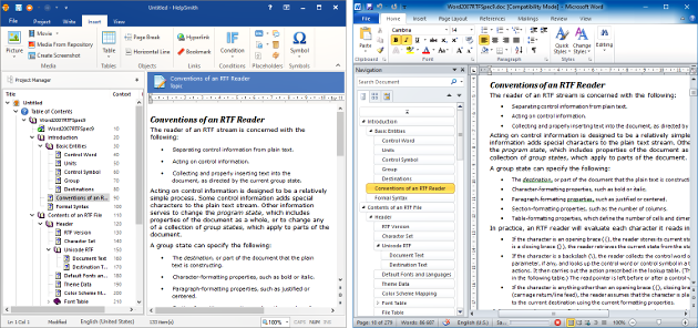 An MS Word Document Imported by HelpSmith