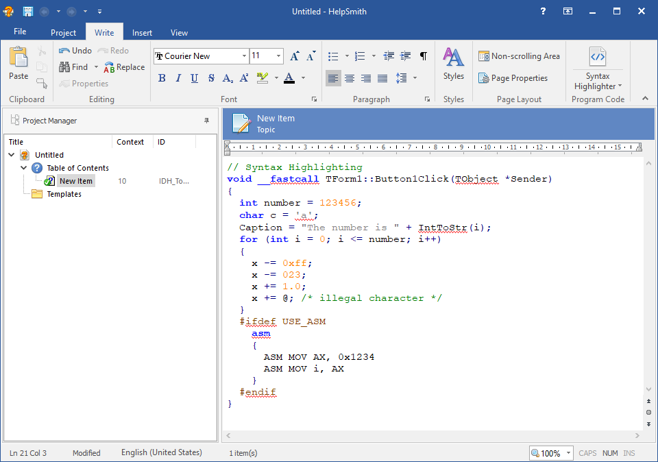 Formatting Program Code with Syntax Highlighting