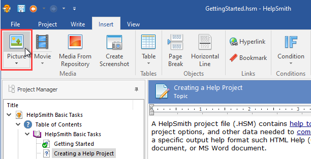 Inserting an Image File into a Topic
