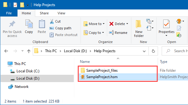 The Media Repository Folder of a Help Project (in Windows Explorer)
