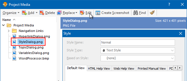 Updating an Image File in the Media Repository