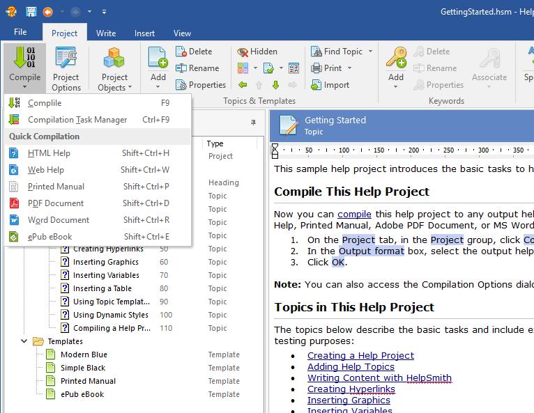 Help Authoring Tool to Create a CHM Help File, Web Help, PDF Manual