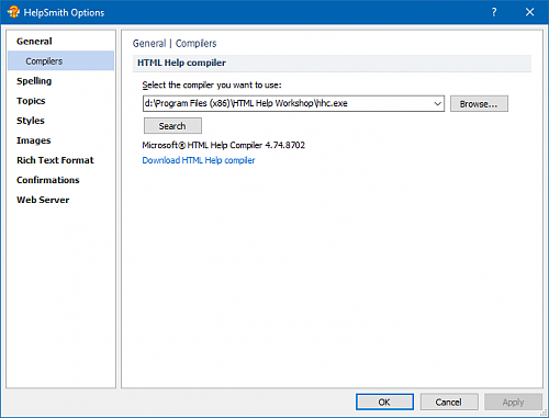 Linking the HHC.exe compiler with HelpSmith