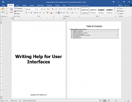 Cover and TOC Sections in a Word Document