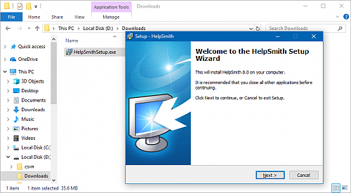 Download and install HelpSmith