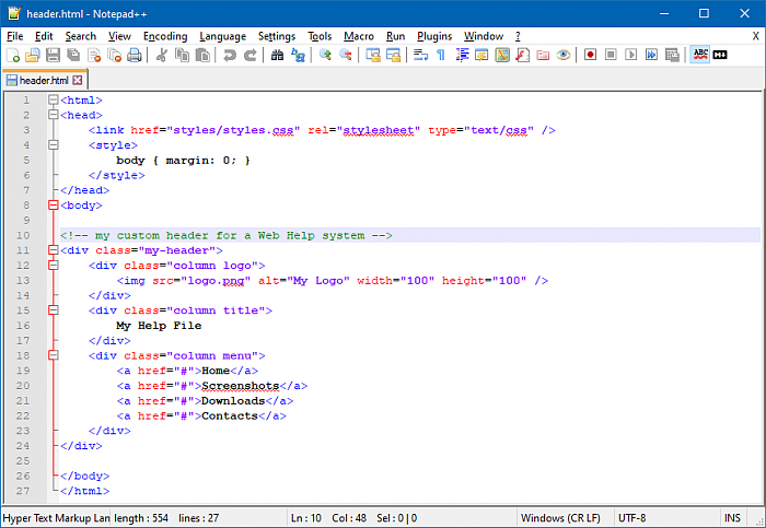 The HTML Code of the Custom Header Written in Notepad++