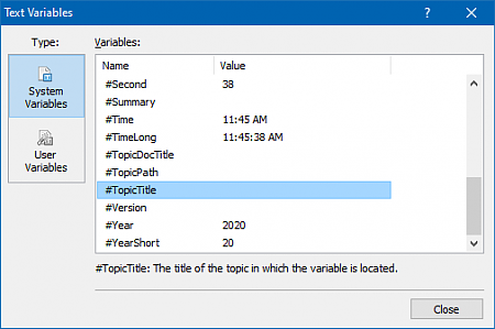 Viewing Variables of a Help Project